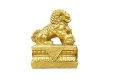 Gouden Chinese leeuw in joss huis Stock Afbeeldingen