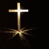 Gouden christelijk kruis vector illustratie