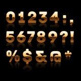 Gouden Cijfers en Set van tekens 2. Royalty-vrije Stock Foto
