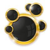 Gouden cirkelframes Royalty-vrije Stock Afbeeldingen