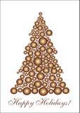 Gouden cirkelKerstboom Stock Afbeeldingen