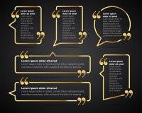 Gouden Citaat lege malplaatjes Citaatbel Vlak ontwerp Het malplaatje van het cirkeladreskaartje, document blad, informatie, tekst royalty-vrije stock foto