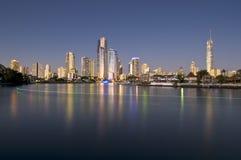 Gouden cityscape van de Kust Stock Afbeelding