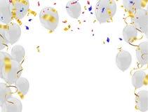Gouden confettien velen Blauwe en Rode Luxe op Witte Achtergrond cele royalty-vrije illustratie