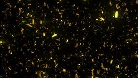 Gouden confettiendaling op zwarte achtergrond 3d animatie, 4K stock illustratie
