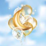Gouden Crescent Moon-ballonramadan Royalty-vrije Stock Afbeeldingen