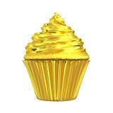 Gouden cupcake glanzende gouden cake Stock Foto