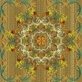 Gouden 3d Barok vector naadloos mandalapatroon Royalty-vrije Stock Fotografie
