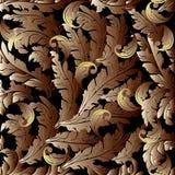 Gouden 3d Barokke achtergrond Eindeloze ornamenten vector illustratie