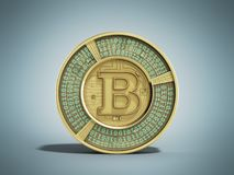 Gouden 3d bitcoin geeft op blauwe achtergrond terug Stock Afbeeldingen