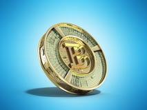 Gouden 3d bitcoin geeft op blauwe achtergrond terug Stock Afbeelding