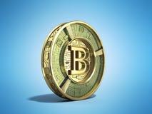 Gouden 3d bitcoin geeft op blauwe achtergrond terug Stock Foto