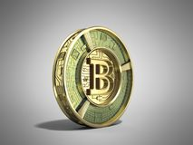 Gouden 3d bitcoin geeft op grijze achtergrond terug Stock Afbeelding