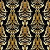 Gouden 3d Damast naadloos patroon Luxe uitstekende background goud vector illustratie