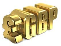 Gouden 3D de muntteken van pond Sterlinggbp Royalty-vrije Stock Foto