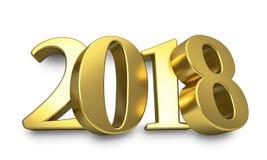 Gouden 3D 2018 die jaar cijfers aan de muur worden geleund stock illustratie
