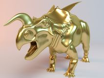 Gouden 3D dier (Einiosaurus) Royalty-vrije Stock Foto's