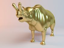 Gouden 3D dier (oude dinasour, brontotherium) Stock Fotografie