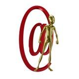 Gouden 3d humanoid met bij symbool Stock Fotografie