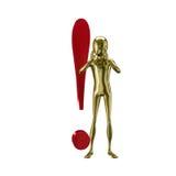 Gouden 3d humanoid met uitroep Stock Afbeelding