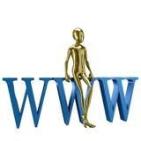 Gouden 3d humanoid met Websymbool Stock Foto's