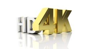 Gouden 3D 4K en zilveren HD Stock Fotografie