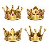 Gouden 3d kroon vectorreeks Koninklijke monarchie en koningenattributen vector illustratie