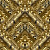 Gouden 3d meander naadloos patroon stock illustratie