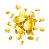 Gouden 3d muntstukken Stock Illustratie