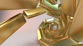 Gouden 3D spiraalvormige samenvatting Stock Fotografie