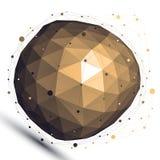Gouden 3D vector abstract ontwerpvoorwerp, misvormde ingewikkelde figu Royalty-vrije Stock Afbeeldingen
