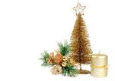 Gouden dacoration van Kerstmis Stock Foto