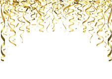 Gouden Dalende Confettien en Linten Royalty-vrije Stock Afbeeldingen