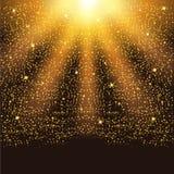 Gouden dalende fonkelende deeltjes en sterren De confetti schittert vector illustratie