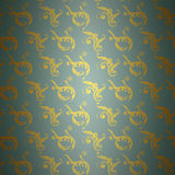 Gouden damastpatroon op blauw Stock Afbeeldingen