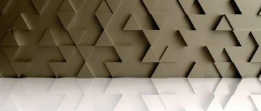 Gouden de achtergrondachtergrond van het driehoekspatroon op witte vloer 3d Stock Fotografie