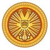 Gouden de cirkelkust van de twee hoofdenadelaar van wapen stock illustratie