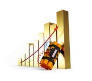 Gouden de crisisdynamiet van het diagram Stock Fotografie