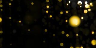 Gouden de deeltjesmotie die van glamour lichte bokeh in zwarte nacht vallen stock videobeelden