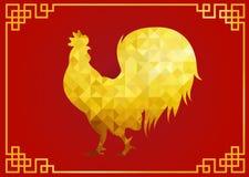 Gouden de dierenriem lage polysymbolen van de kippenhaan op rode achtergrond en gouden kader voor Chinese nieuwe jaarkaart Stock Afbeeldingen