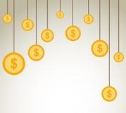 Gouden de dollars van het kleurenmuntstuk vectorontwerp als achtergrond Royalty-vrije Stock Afbeelding