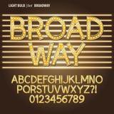 Gouden de Gloeilampenalfabet en Cijfer Vect van Broadway Royalty-vrije Stock Foto