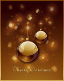 Gouden de groetkaart van Kerstmis Stock Foto