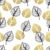 Gouden de herfst bloemenachtergrond Schitter geweven naadloos patroon met dalings gouden en zwart blad Vector illustratie royalty-vrije illustratie