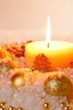Gouden de kaarsvlam van Kerstmis Stock Foto