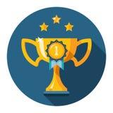 Gouden de kop vlak pictogram van de winnaartrofee Stock Fotografie