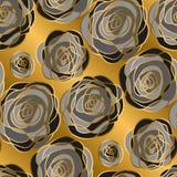 Gouden de luxe nam decoratief bloemen naadloos patroon toe vector illustratie