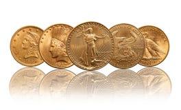 Gouden de muntstukkenvrijheid van Verenigde Staten, Indisch hoofd, adelaar stock afbeelding