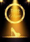 Gouden de partijaffiche van de meisjesnacht uit Royalty-vrije Stock Foto's