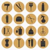 Gouden de pictogrammeninzameling van Barber Shop Stock Afbeeldingen